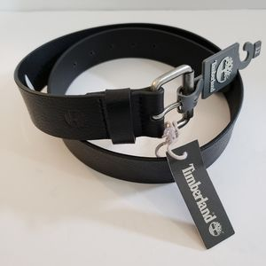 Timberland Black Leather Belt Silver Buckle NWT